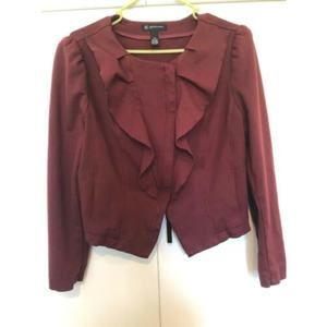 INC Asymmetrical Maroon Front Ponte Jacket size PM